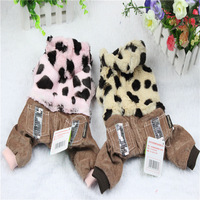 Dog Clothes Thicked Warm Coral Fleece Leopard Four legs Clothes Pet Dog Clothes  Dog Clothing  Free Shipping  1PCS/LOT