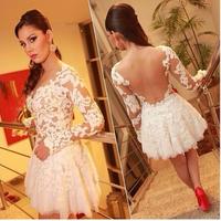 Honey White prom dress stylish fashion night helping mini dress white dress selena gomez lace long sleeve short dress HY003