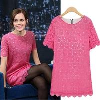 2014 new fashion hot sale Q- neck short sleeve lace girl dress hollow Slim thin dress print zipper chiffion woman lady dress