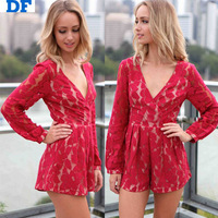 Women Jumpsuit Macacao Feminino 2014 Fashion Red Lace Jumpsuit Deep V Long Sleeve Rompers Women Casual Bodysuit Playsuit Plus