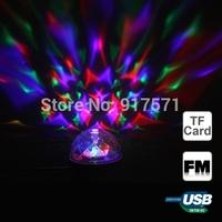 E27 RGB Colorful Rotating Mini LED Bulb Crystal Magic Ball Light Stage Lights DJ Disco Bar KTV Support USB TF Card FM Radio