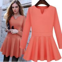 2014 autumn new fashion women dress slim 2 color soild long sleeve casual women dress light blue and orange red S M L XL