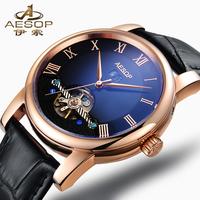 Fashion Male Clock Calendar Stainless Steel Case Black Leather Strap Relojes Men Tourbillion Wrist Tag Men Sports Watch 9937