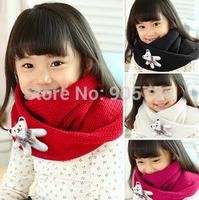 4 Colors  Children Cartoon Bear Scarf Girl's Fashion Ring Scarf Boy Knitted Scarf Baby Winter Warm O Scarf