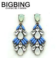 BigBing Fashion blue drop crystal Earrings stud Earrings fashion earring fashion jewelry nickel free Free shipping! WE353