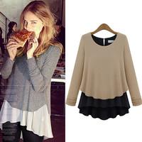 2014 autumn new fashion women pullover chiffon stitching knit shirt long sleeve casual women top gary and khaki S M L XL