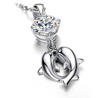 Min order is $5 (mix order) Free shipping! Exquisite Animal  Charms women's double dolphin charms jewelry