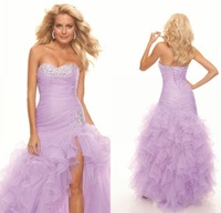 Latest Design Sweetheart with Crystals Ruched Light Purple Ruffles Prom Gowns Side Slit Lace up Organza 2014