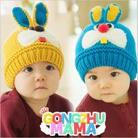 Free Shipping Lovely Rabbit Baby Hat Cap Toddler Kids Boys Girl Winter Knitted Warm Hats Crochet Beanie Cap