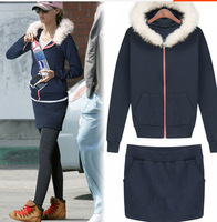 New 2014 Fur Collar Hooded Tracksuits Jogging Suits For Women Leisure Velvet Sports Hoodie + Skirt 2 Pieces Set S-XL