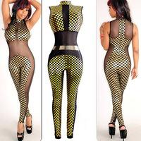2014 Hot Sale Sexy Sleeveless Stereoscopic Jumpsuit European and American Fashionable Plaid High neck Nightclub Women Bodysuit