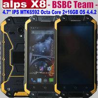 Original alps X8 Octa Core IP68 Waterproof  4.7'' Gorilla CorningII 1280x720P MTK6592 Android 4.4 2G 16GB 13MP WCDMA PPT 3600mah