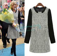 Slim Round Neck Stitching Long-sleeved Dress Casual Dress Winter Dress Free Shipping