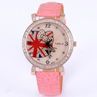 Hello kitty watches for women cartoon bowknot crystal round case rose gold plated pu leather strap analog wrist watches dropship