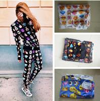 Fashion emoji  Women Hoody New 2014 Sport Suit 2 Piece Set Sweatshirt  Women emoji Plus Size Hoodies Tracksuits Free Shipping