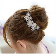 Full Colors Crystal Rhinestone Petal Tuck Comb Women Flower Hair Pin Hair Clip Headwear Accessories