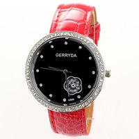 Ladies Fashion Watch Rhinestones Luxury Brand Famous Clock Leather Watchband Flower Wholesale Dropship Free Shipping PU