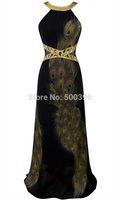Black Peacock Evening Dress with Rhinestones vestido de festa 2015 Cheap Price A-line Long Women Formal Dress