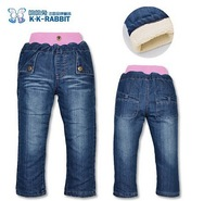 CP142 Free shipping brand K.K-RABBIT girls jeans baby girls winter warm pants thick kids brand trousers retail and wholesale