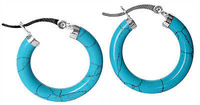 New Charming 925 sterling silver With Blue turquoise circularity Earring Hoop Earrings / Free Shiping