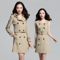 XL-XXXXL 2014 Autumn Winter Women Double-breasted Trench, Plus size 2 Pcs Slim Casual Long Coat Outwear W/Belt Color Khaki Black
