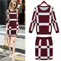 Europe 2014 autumn new style women fashion long sleeve crewneck knit top slim bag hip dress