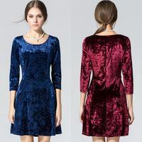 2014 autumn and winter new fashion women dress 5 color slim seven sleeve casual women velvet dress S M L XL