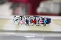 Navy Blue Sparkle Rhinestone Letter GABBI Bracelet ,Choose Letters and Colors, Free Shipping! 6pcs/lot!Y-0473