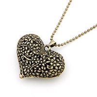 Jewelry Christmas Gift Free Shipping Korean Fashion Carving Retro Hollow Peach Heart Sweater Chain Necklace Jewelry