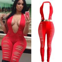 2014 Sexy Sleeveless Regular Hole Backless Jumpsuit European and American Fashionable Red Deep V-neck Nightclub Women Bodysuit