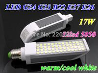 Durable LED Corn bulb 17W E26 E27 G24 G23 B22 52led 5050 LED Horizon Down Light 180 Degree AC85-265V By DHL ship