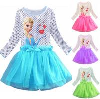 New girls' frozen dress 2014 cartoon summer dress girl's princess dress lovable clothing, Frozen dress, Elsa dress