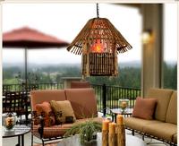 Southeast Asia droplight study lamp handmade bamboo weaving sitting room bedroom lamp lights, 4016