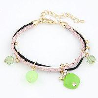 2014 Fashion Sweet Apple Multilayer Leather Bracelet Crystal Beads Bracelet For Women Fashion Jewelry Wholesale