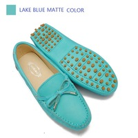 2014 FALL Women genuine leather shoes Moccasins  F960 lady soft driving BOW lace up Loafers flats fashion lake blue mate 4colors