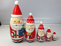 5pcs/set Matryoshka Doll  Children Wooden Doll Printed Christmas Santa Claus Christmas Gifts Birthday Gifts J-0744