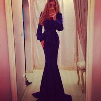 New 2014 women evening dress temperament Lantern European fashion brand frozen dress long sleeve evening dress vestidos