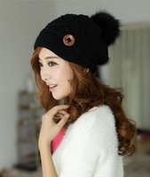 Free shipping 2014 hot sell hat Women Winter fashion diamond knitted caps Rabbit hair ball outdoor warm hat 7 colors