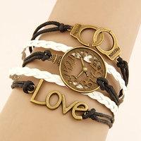 2014 Pulseira Masculina One Direction Clock Handcuffs Bracelet Love Combinations Metal Bracelets&bangles For Women Accessories