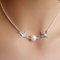 2014 New Fashion Silver Double Animal Birds Swallows Simulated Pearl Choker Necklace Jewelry Product Gift for Women