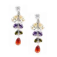 AAA+ 18K Platinum Gold Plated CZ Cubic Zircon Drop Earrings for Women Multicolor CZ Stones Christmas Gift  CTE013