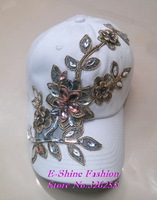 Top Quality new fashion rhinestone crystal gold floral flower white black fuchsia women baseball cap cotton hiphop snapback hats