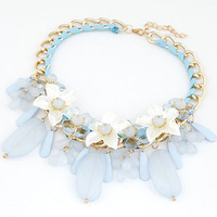 Spring New 2014 Metal Luxury Flowers collar Jellycolor droplets Necklaces & Pendants For Women Sweater Chain Fashion jewelry