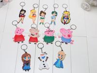 Anime Cartoon Peppa Pig Sailor Moon Toys Keychains PVC Key Chains Soft Rubber Pendants Baby Toys