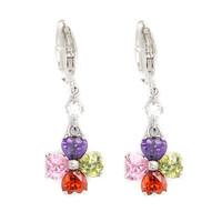 Lucky clover 18K Platinum Gold Plated CZ Cubic Zircon Earrings for Women Multicolor CZ Stones Christmas Gift CTE007