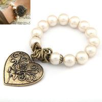 2014 Sale Pulseira Masculina Pulseiras Hot Fashion Peach Heart Pearl Bracelet Joker Multilayer Bead Banlge Jewelry Wholesale