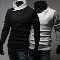 Men's hoodies 2014 autumn and winter high collar single button men sweatshirt hedging Slim black jacket