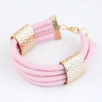 Bracelets For Women Hot Sale Pulseiras Femininas 2014 Fashion Trendy Metal Leather Multi- Bracelet For Woman Jewelry Wholesale