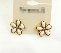 Wholesale Jewelry Fashion Sweet Flower Stud Earrings Designer Women Gems Brincos Bijoux Date Party 7744