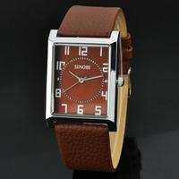 New Men Dress Watch Fashion Brand Sinobi Rectangle Dial Quartz Watch Fashion Clock Male Hours Casual Wristwatch Holiday sales